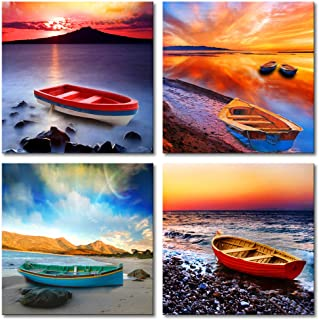 MOCO ART 4 Panels Little Boat Picture Seascape Painting Wall Art Canvas Painting for Modern Home Decor with Stretched and Framed(12x12inchx4pcs)