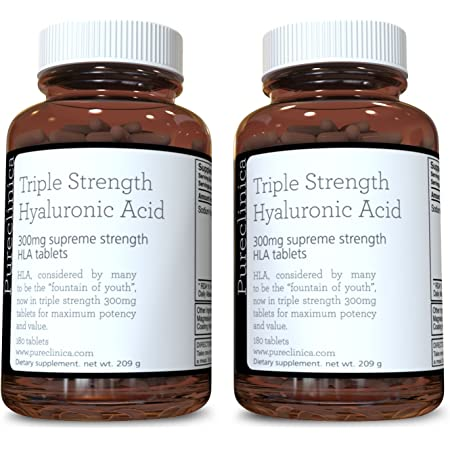 Hyaluronic Acid 300mg x 360 Tablets (2 Bottles Each with 180 Tablets - 6 Months Supply). Triple Strength Hyaluronic Acid. 300% Stronger Than Any Other HLA Tablet. SKU: HLA3x2