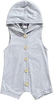 للجنسين رضيع صيف اللون الصامد مقنع بلا أكمام زر بذلة طفل الفتيات أولاد رومبير (Color : Gray, Kid Size : 24M)
