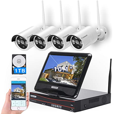 "[8CH,Expandable] All in one with 10.1"" Monitor Wireless Security Camera System, Cromorc Home Business CCTV Surveillance 1080P NVR, 4pcs 3MP Indoor Outdoor Night Vision One-Way Audio Camera,1TB HDD"