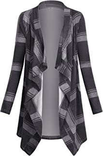 Women's Casual Plaid Print Sweater Long Sleeve Drape Open Front Knit Cardigan
