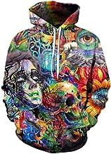 Unisex 3D Print Hoodie Lightweight Graffiti&Skull Patterned Pullover Hooded Sweatshirt with Pocket Men Women Boys Girls