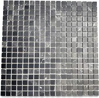 Nero Marquina Black Marble Square Mosaic Tile 5/8x5/8 Honed