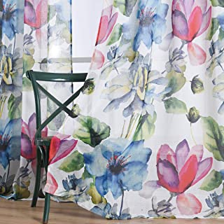 Taisier Home Stylish Living Elegant Abstract Colorful Curtains Printed,Colorful Sheer Curtain Print,Fashion Curtain 63 Inch Lenth for Bedroom(Floral Print Curtain 2 Panels Set)