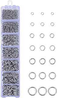 HooAMI 1 Box About 770pcs Stainless Steel Open Jump Rings 3mm-10mm Diameter Jewelry Making Findings