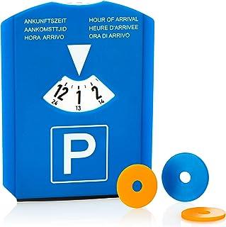 COM-FOUR® 1x parkeerschijf met ijskrabber, rubberen lip en winkelwagenchips - parkeerautomaat van kunststof (01 stuk - par...