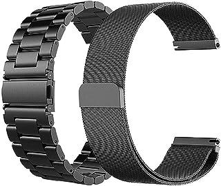 コンパチブル Samsung Galaxy Watch 46mm Samsung Gear S3 Frontier/Classic バンド, ミラネーゼループ コンパチブル + ステンレス 鋼 バンド TicWatch Pro バンド(バンド ブラック - ミラネーゼループ + メタル)
