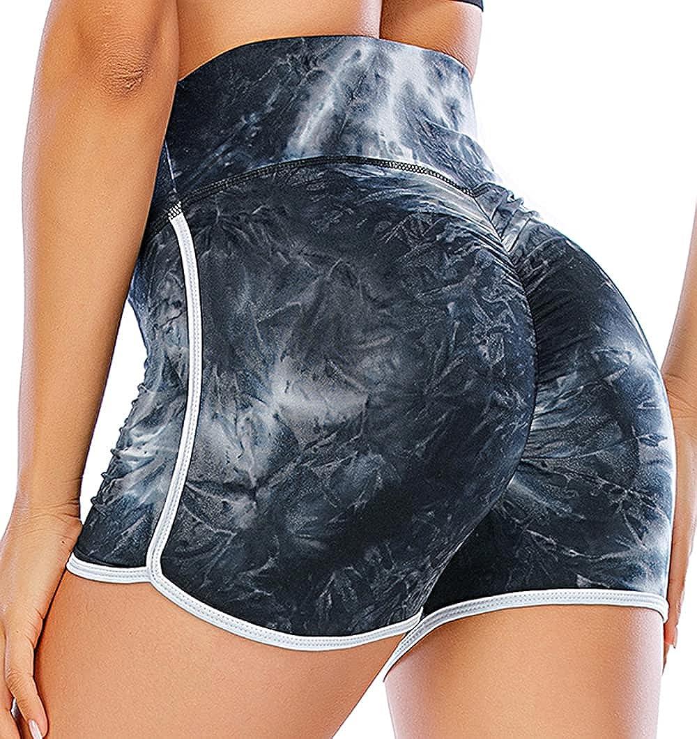 SAITI Ruched Butt Booty Push Up Sports Shorts for Women High Waist Scrunch Butt Lifting Hot Pants