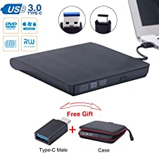 External CD/DVD Drive for Laptop USB3.0 Drive Guamar External CD DVD+/- RW Burner Writer Optical Drive Compatible with Mac/Windows with USB C/Type-c Adapter (Black)