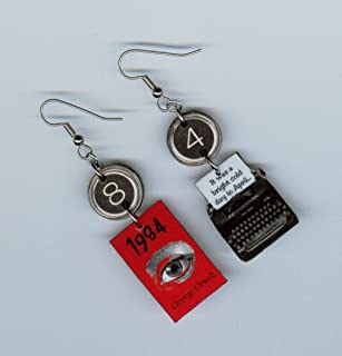 Book Cover Earrings - George Orwell 1984 quote - Typewriter Key jewelry - Dystopian novel - graduation teachers readers bookish literary gift
