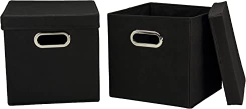 Household Essentials 34-1 Decorative Storage Cube Set with Removable Lids   Black   2-Pack