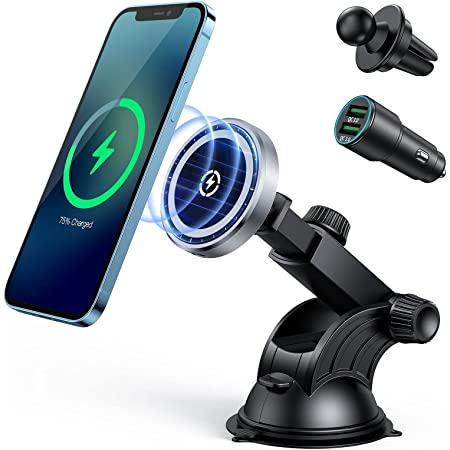 Auto-Calibrating Air Vent Car Mount Holder Charger Compatible with Mag-Safe Magnetic Charging Black NS 15W Magnetic Wireless Car Charger Holder for iPhone 12//12 Pro//12 Mini//12 Pro Max