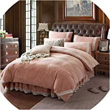 Winter Flannel Fleece Bedding Set Cashmere Sheet Pillowcase Duvet; Cover Set Camel Fleece lace Thicken Warm Ruffles Bed Linen Set,Jade lace,Queen,Bed Skirt Sheet Set