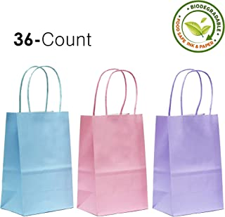 36CT Assorted 3 Pastel Color Kraft Paper Gift Bags with Handles [ Ideal for Shopping, Packaging, Retail, Easter Party Gift, Craft, Wedding, Goody and Merchandise Bag] (Pastel, 36CT Small)