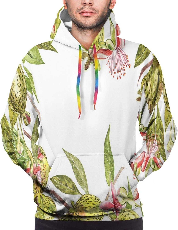 TENJONE Men's Hoodies Sweatshirts,Feather Leaves Illustration with Triangular Aspect Strokes