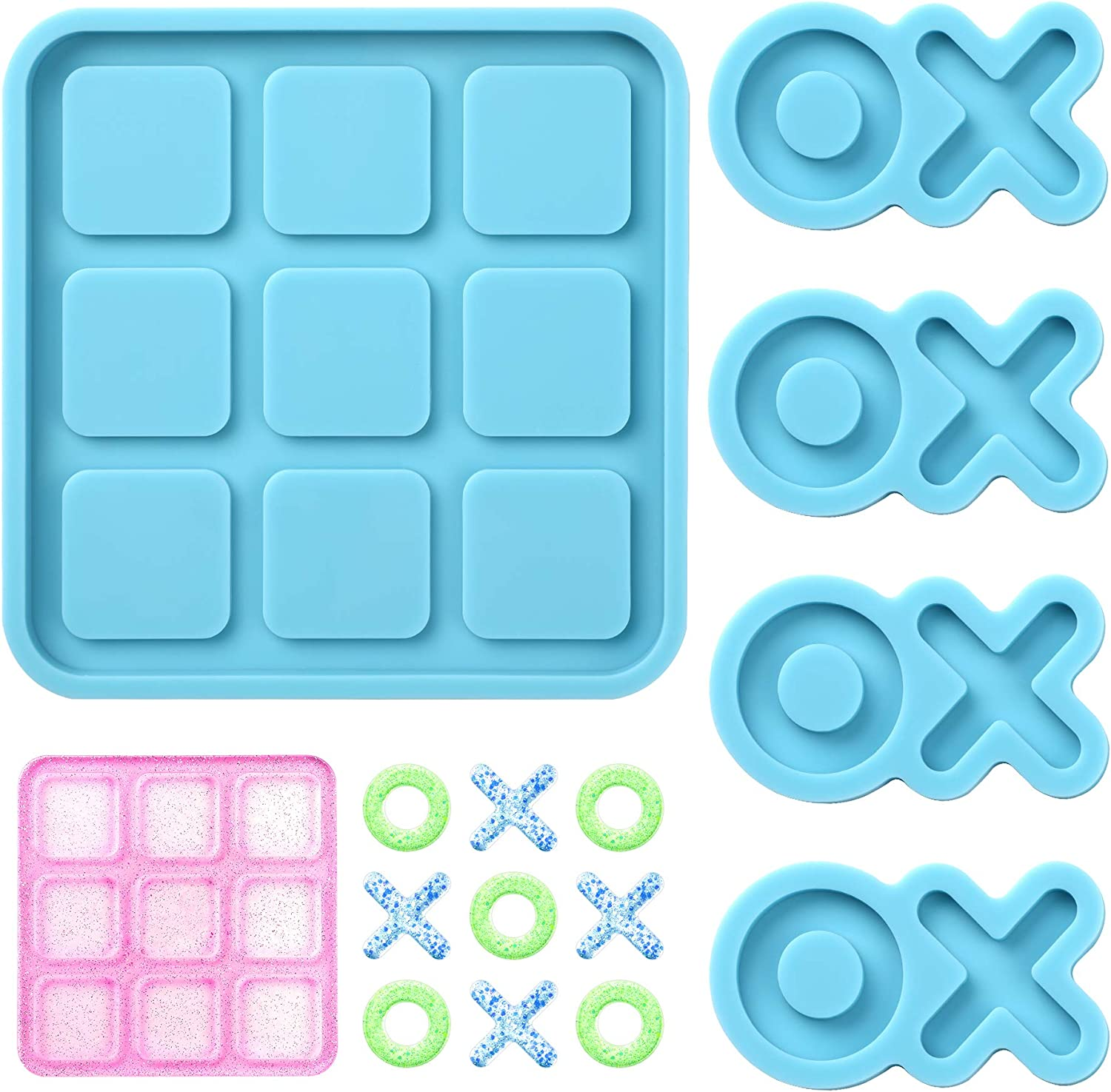 Tic Tac Toe Resin New item Mold with 4 Game Chess Pieces Genuine Molds O X Board