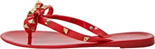 Studded Bow Women's Sandals Jelly Thong Stud Flat Rivets Strap Pearled Jellies Flip Flop Rubber Summer Beach Rain Shoes Valencia Rock Slippers