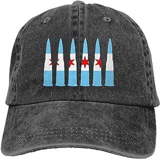 Fgeffs8 Chicago Flag Bullet Unisex Washed Denim Baseball Cap Fish Hat Adjustable Back Closure Trucker Hat