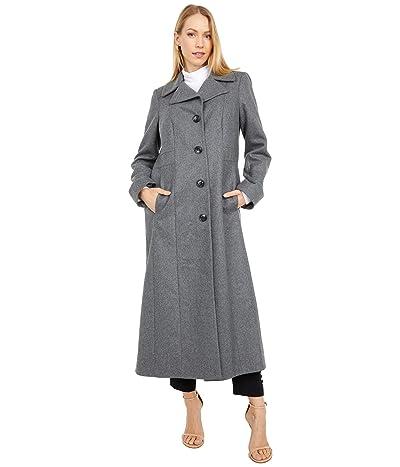 London Fog Long Wool Button Front Coat (Medium Grey) Women