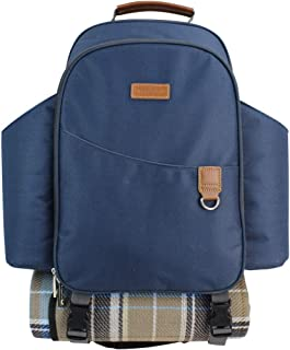 HappyPicnic Insulated Picnic Backpack for 2 Persons with Full Set of Tablewares, Roomy Cooler Compartment, Bottle Holders and Large Waterproof Picnic Rug (Navy Blue)