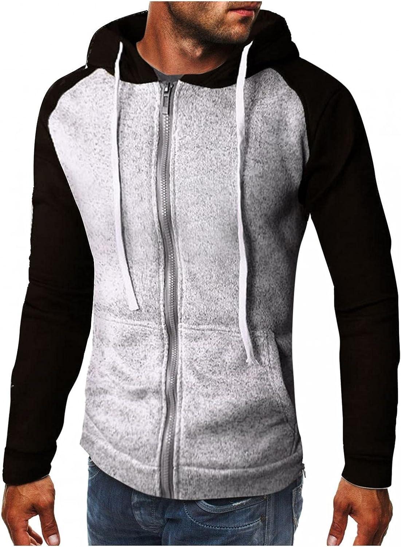 LEIYAN Mens Full Zip Hoodie Pullover Casual Long Sleeve Color Block Bodybuilding Sweatshirt for Running