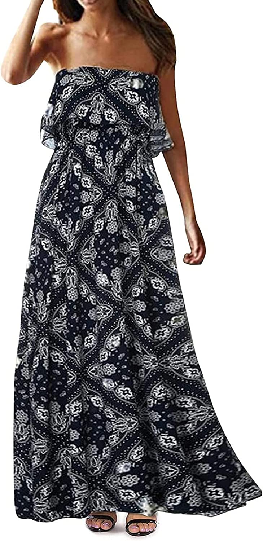 Summer Dress for Women Tube Top Dress Summer Sexy Off Shoulder Bohemian Long Dress Beach Dress Comfy Daily Wear Black
