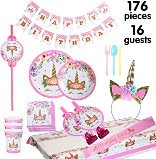 Unicorn Party Supplies And Decorations Set 176 Piece For Birthday Serves 16 Guests