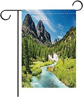 Artistically Designed Yard Flags, Double Sided Altai Pine Forest Rainforest River Rocky Mountains Snenery Siberia Whitewater Decorative Decorative Deck, patio, Porch, Balcony Backyard, Garden or Lawn