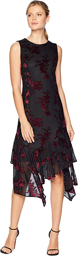Burnout Velvet Chiffon Maxi Dress w/ Asymmetrical Hem
