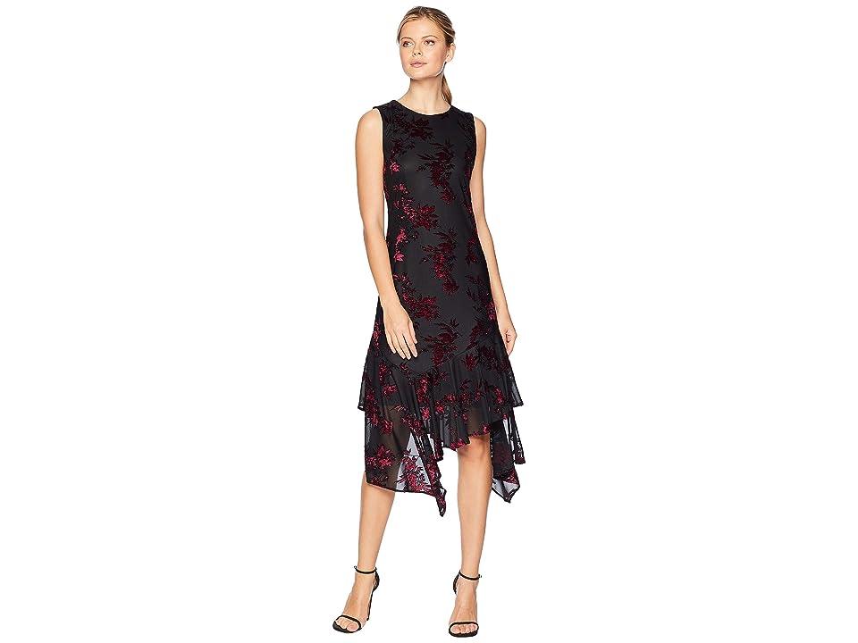 Calvin Klein Burnout Velvet Chiffon Maxi Dress w/ Asymmetrical Hem (Black Multi) Women