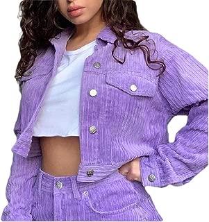 Women's Button Long Sleeve Corduroy Jacket Windbreaker Solid Color Coat