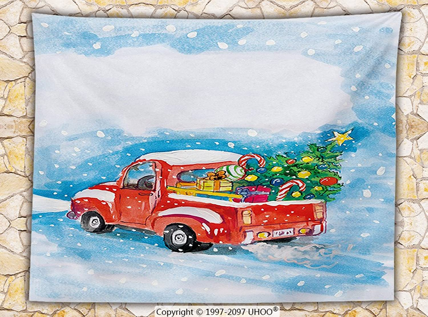 Christmas Fleece Throw Blanket Vintage Red Truck in Snowy Winter Scene with Xmas Tree and Gifts Candy Cane Kids Throw