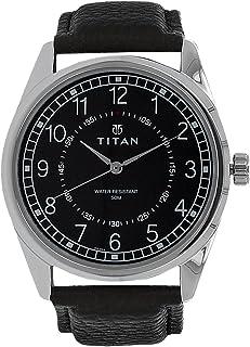 """1729SL02 ساعة """"تيتان كلاسيك"""" للرجال ، مقاومة للماء حتى 50 مترًا ، وجه اسود مع حزام أسود من الجلد"""