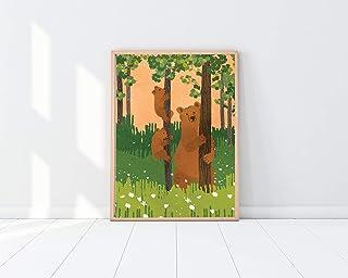 Global Guardian Project Woodland Animal Print Series - Unframed Bear Family Print - Outdoor Themed Nursery Decor - Cabin D...