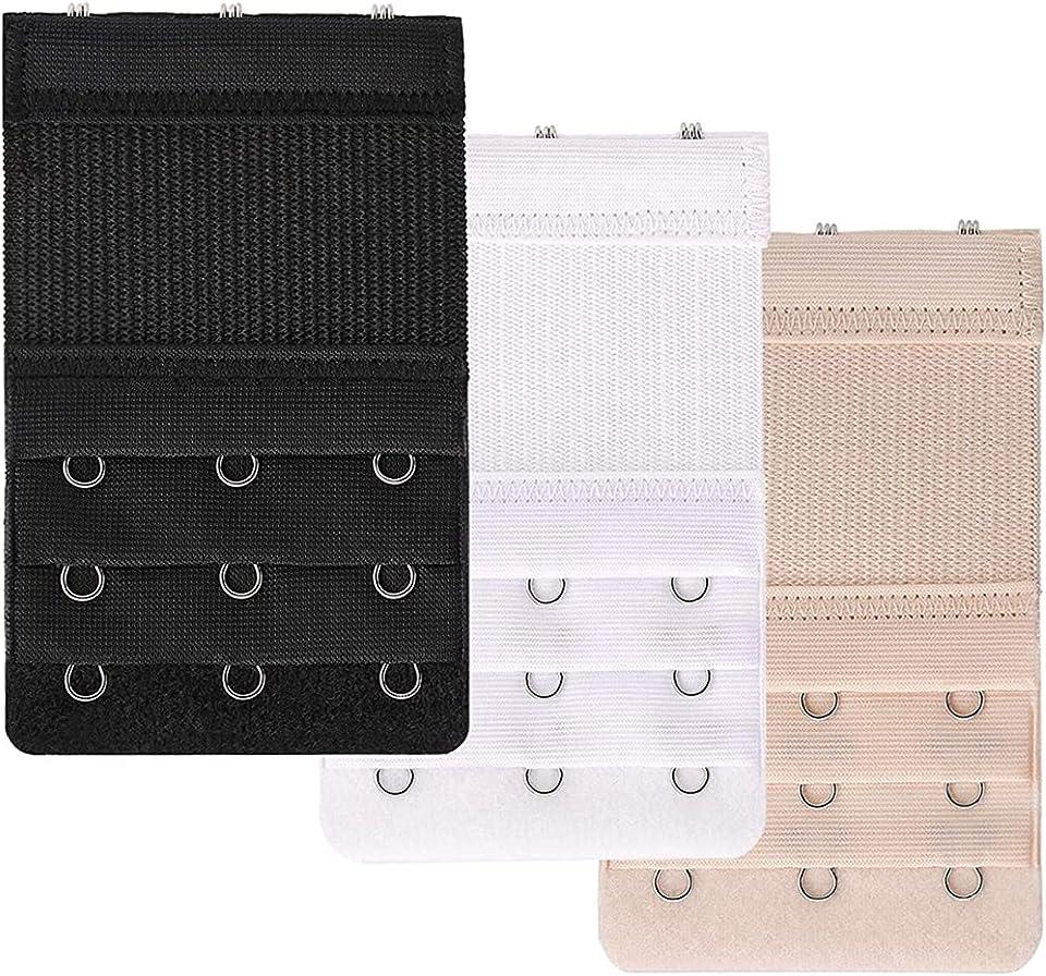 Bra Extenders Elastic Bra Extension Straps 3 Row 3 Hooks Brassiere Extender Hook, black, white and skin color, 9.1 x 5.7 cm