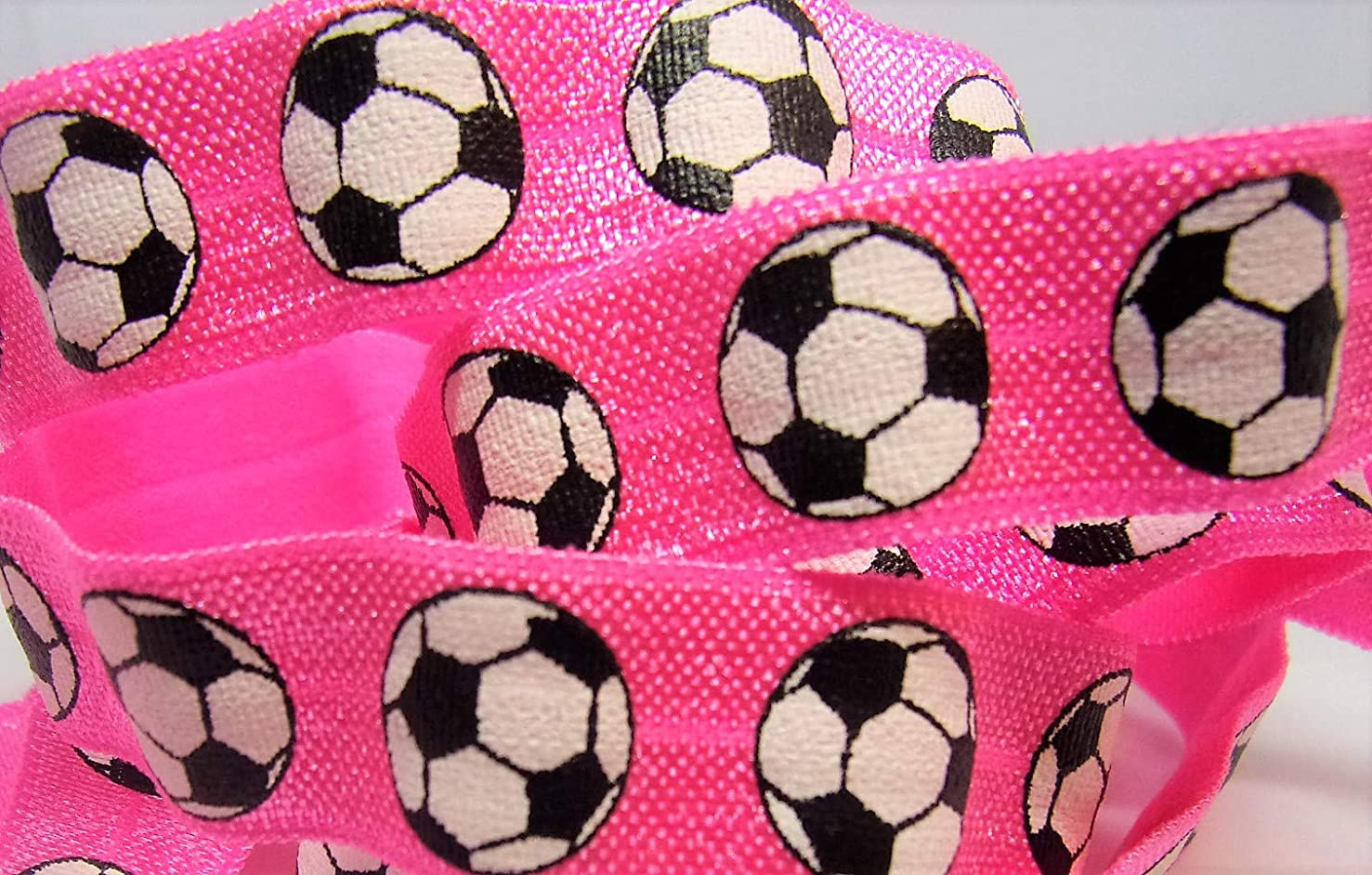 Fold Over Elastic - Hot Pink Soccer Print FOE - 5/8