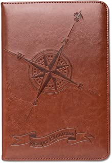 Compass Journal by SohoSpark, Writing Journal, Personal Diary, Lined Journal, Travel, 6x8.75 Notebook, Writers Notebook, Faux Leather, Refillable, Fountain Pen Safe, Nautical, Lay Flat Binding