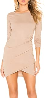May&Maya Women's Long Sleeve Jersey Ruched Bodycon Mini T-Shirt Dress