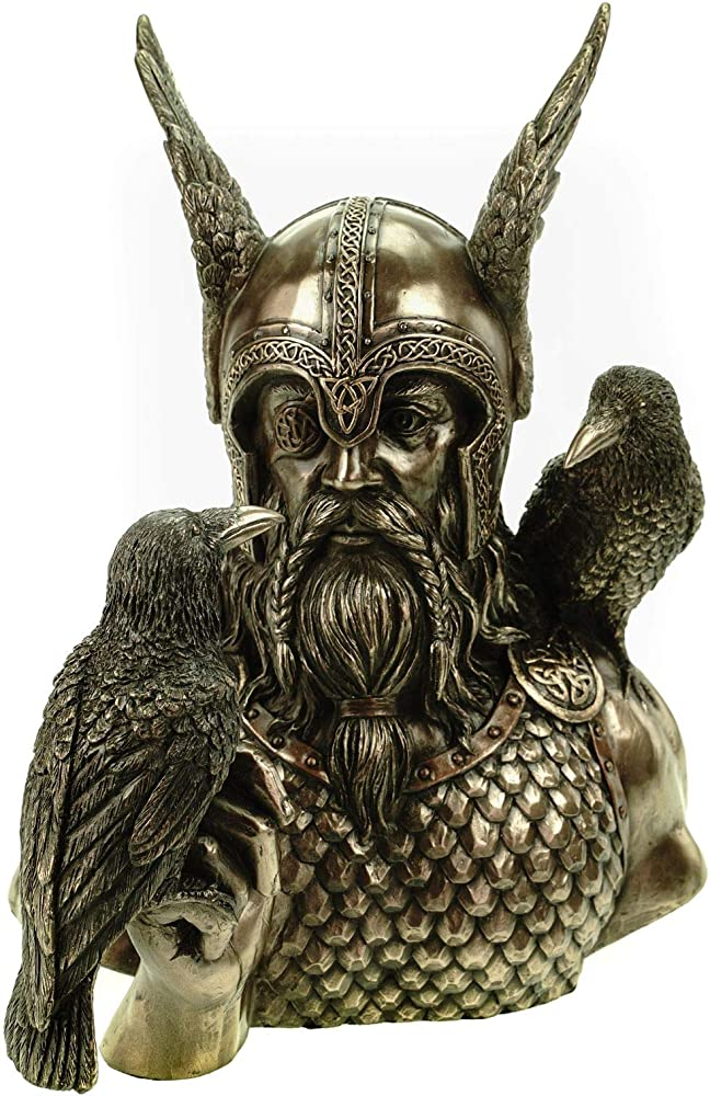 Veronese, busto di odino con corvi hugin e munin statua