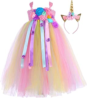 Tutu Dreams Flower Girl Fancy Princess Dress Size 1-14Y with Headband (Unicorn Mermaid Theme)