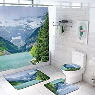 Lake House Decor 69x70 inch Shower Curtain Sets,Landscape of Lake Louise and Mountains with Snows Alpine Trees in Alberta Canada Toilet Pad Cover Bath Mat Shower Curtain Set 4 pcs Set,Green White