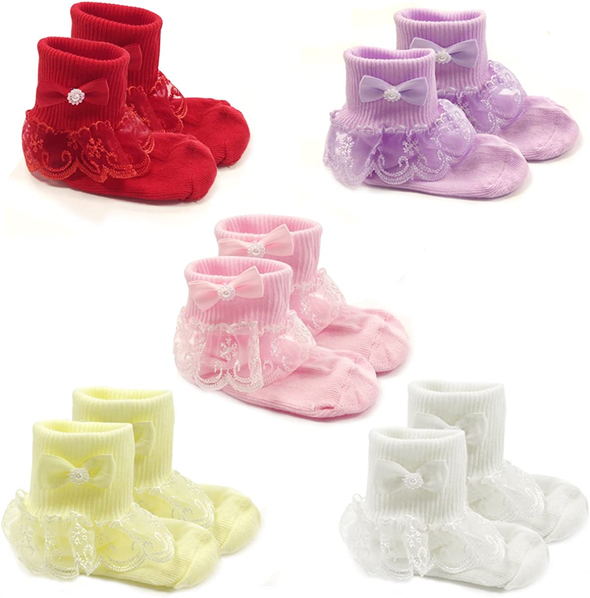 Wrapables Snowy Lace Ruffle Cuff Socks for Toddler Girl, Set of 5