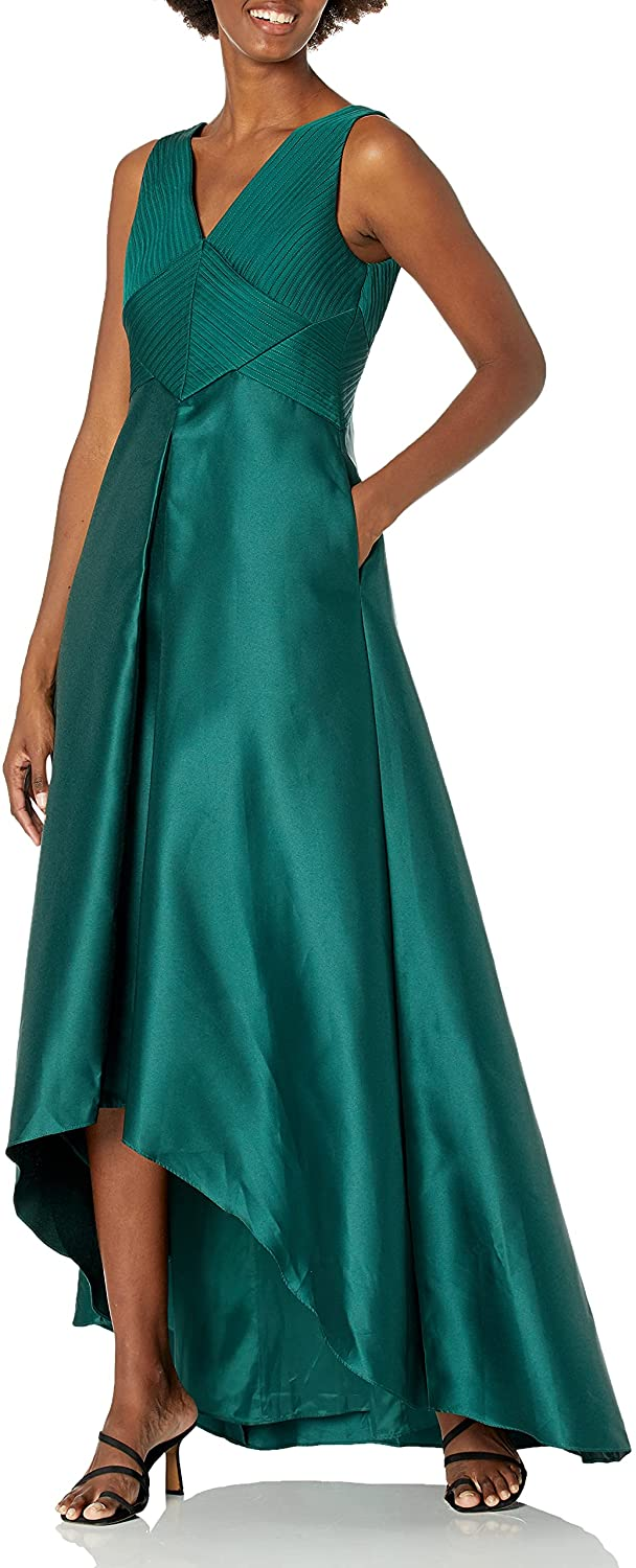 Adrianna Bargain sale Papell Women's Pleated Mikado Hi Low Free shipping on posting reviews Gown