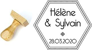 Timbro matrimonio personalizzato stile Art Deco e stile geometrico, forma esagonale 4 cm, con nomi e data