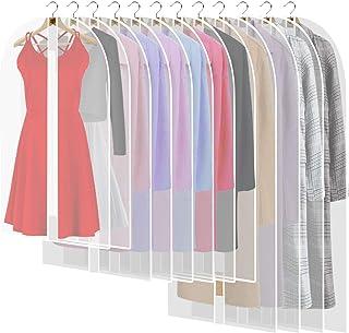 12PCS Housses de Vêtements avce Zip, Anti Poussière Etanche Mite Humidité, Anti-Poussière Housses de Protection Transparen...