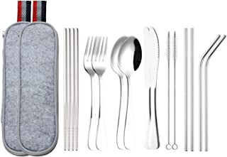 Lawei 16 pieces Travel Camping Cutlery Set - Stainless Steel Portable Flatware Set Included Knife Fork Spoon Chopsticks Cleaning Brush Straws Portable Case for Travel, Camping