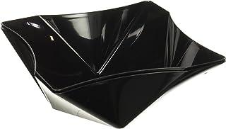 Party Essentials Hard Plastic 81 oz Square Twist Serving Bowls, Black, Pack of 2