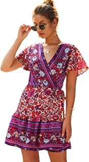 Womens Summer Bohemian Floral Print Wrap V Neck Ruffle Swing A Line Beach Mini Dress
