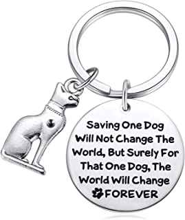 Rescue Dog Gifts, Saving One Dog The World Will Change Forever Keychain for Dog Mom, Dog Lover