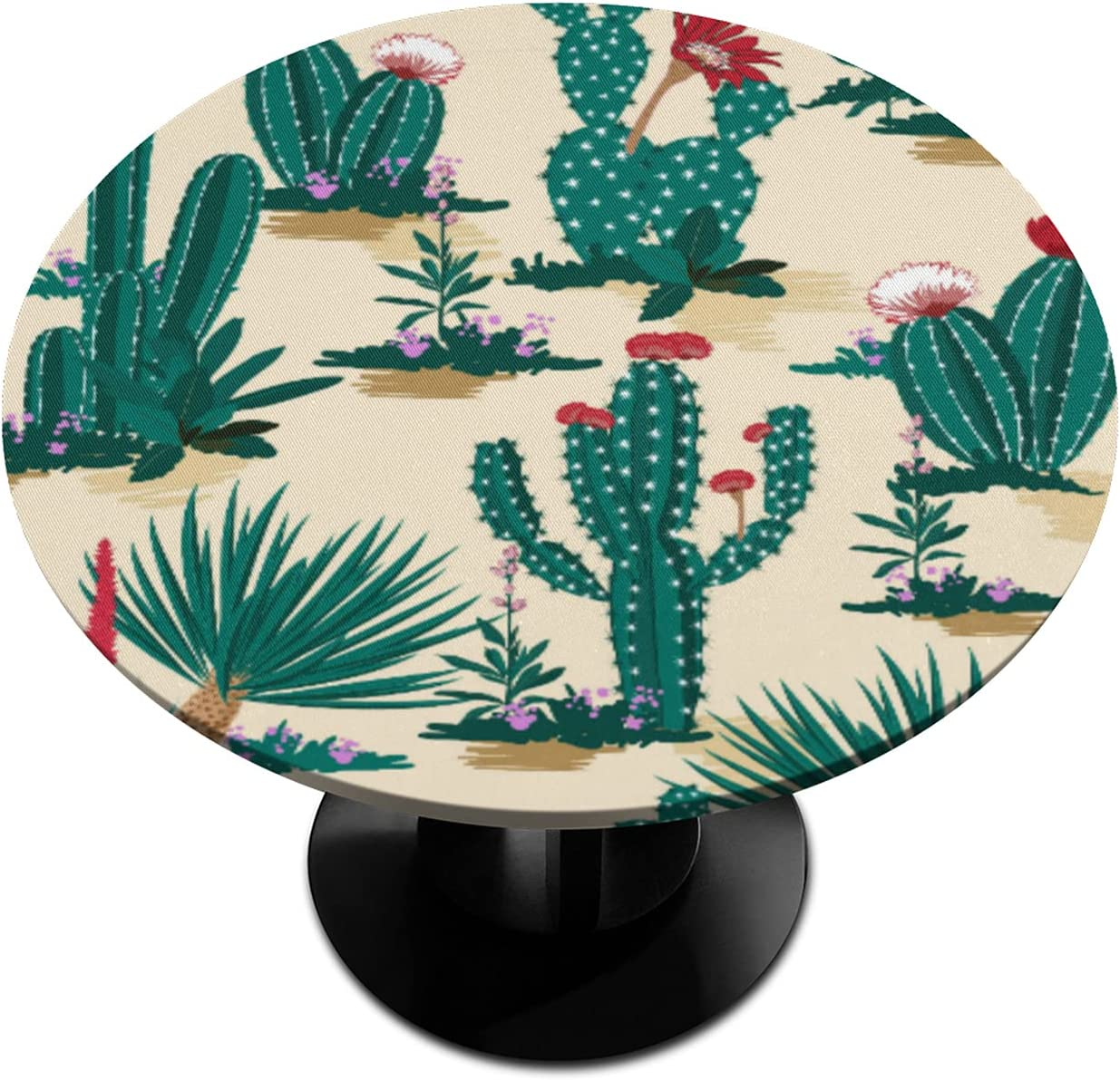 Round Fitted Tablecloth Max 51% OFF with Elastic OFFicial mail order Cactus Tropic Succlent Edge